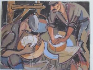 Les bergers fromagers, gouache de René Gaston-lagorre