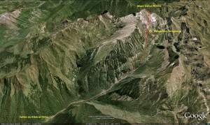 Accès par la vallée du Riberot Estagnous Mt Valier.