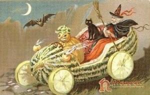 Carte évoquant la fête d'Halloween