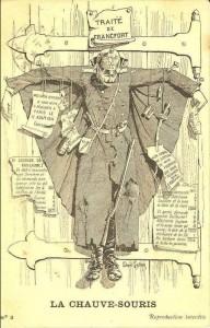 Caricature de GuillaumeII crucifié à la manière des chauves-souris sur une porte de grange...