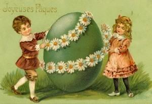 Pâques. Carte postale1900
