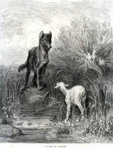 Lou Loup e l'Agnet. Gustave Doré. XIXe s.