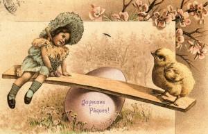Joyeuses Pâques. Carte postale 1900