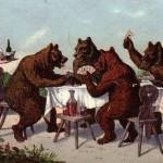 Carte.Ours jouant aux cartes
