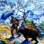 Le retour du montreur d'ours , huile sur toile, rené Gaston-lagorre
