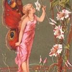 Femme papillon humant le liseron